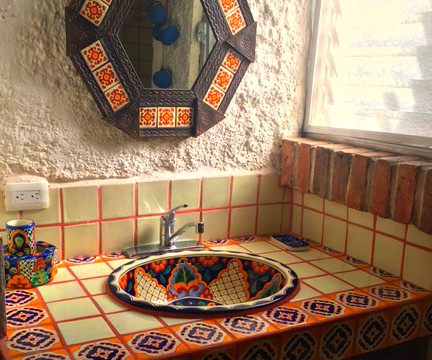 Bath with Mexican Tiles