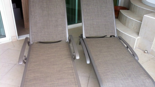 Terrace chaise lounges