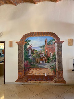mural in dining area
